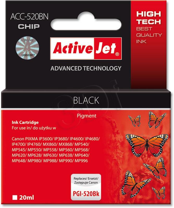 ActiveJet PGI-520Black (WITH CHIP)     ACC-520Bk - kompatibilní EXPACJACA0079